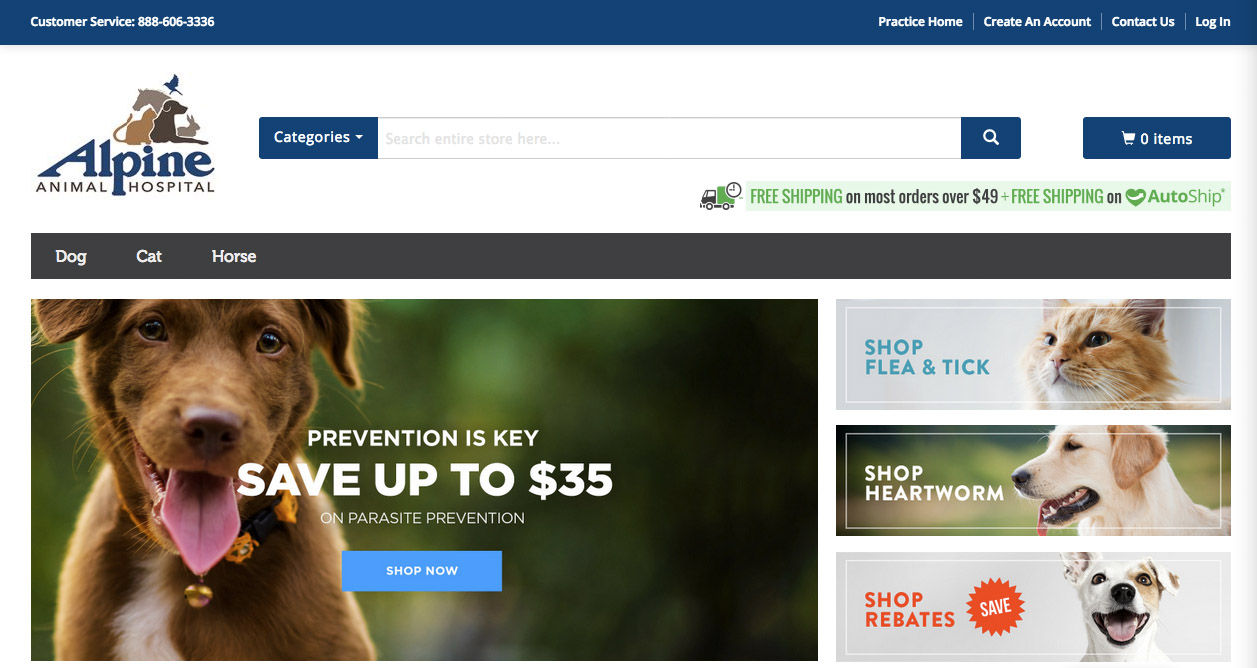 image of pet pharmacy home page